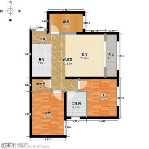 太奥广场2室0厅1卫1厨82.00㎡户型图