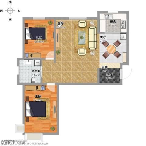 华北星城2室1厅1卫1厨101.00㎡户型图
