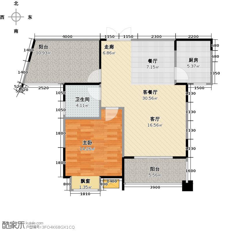 菩提苑82.20㎡A2户型 二房二厅一卫户型2室2厅1卫