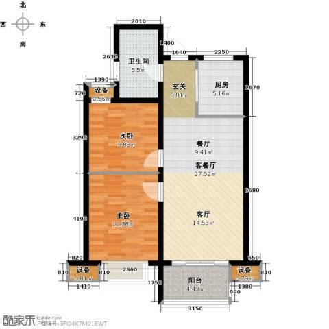 国耀星达城2室1厅1卫1厨78.00㎡户型图