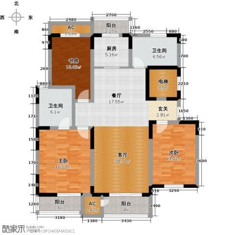 领世公馆3室1厅2卫1厨140.00㎡户型图
