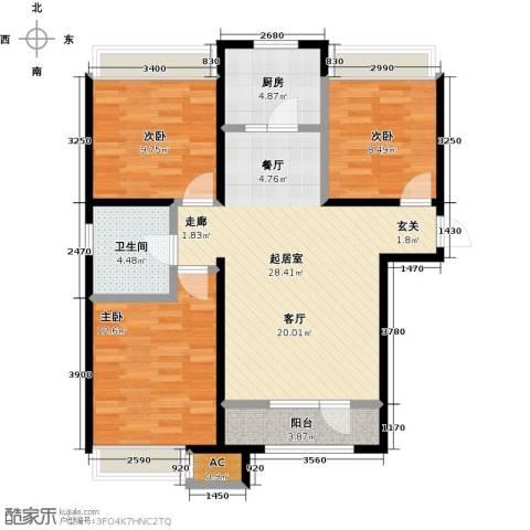 呼和浩特永泰城3室0厅1卫1厨112.00㎡户型图