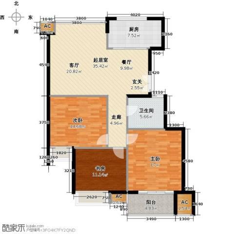 清江华府3室0厅1卫1厨138.00㎡户型图