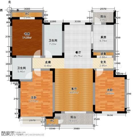 领世公馆3室1厅2卫1厨153.00㎡户型图