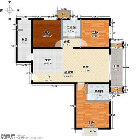 呼和浩特永泰城3室0厅2卫1厨127.00㎡户型图