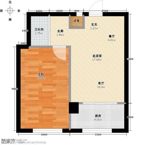 蓝山国际1室0厅1卫1厨52.00㎡户型图