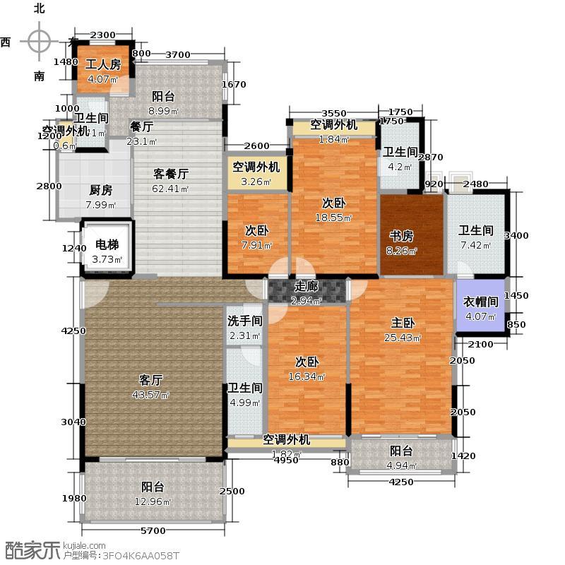 东湖洲花园4号楼301-B型户型5室1厅4卫1厨