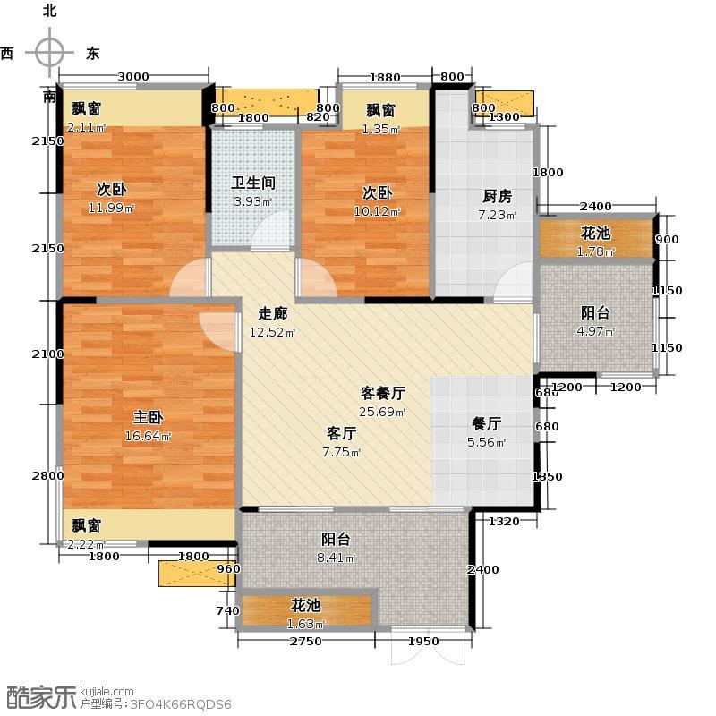 清江泓景104.00㎡C1户型三室两厅一卫户型3室2厅1卫
