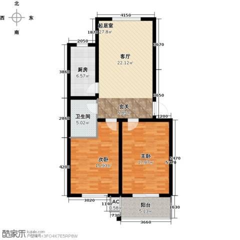 鑫河湾2室0厅1卫1厨94.00㎡户型图