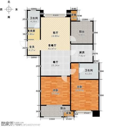 九龙仓繁华里2室1厅2卫1厨123.00㎡户型图