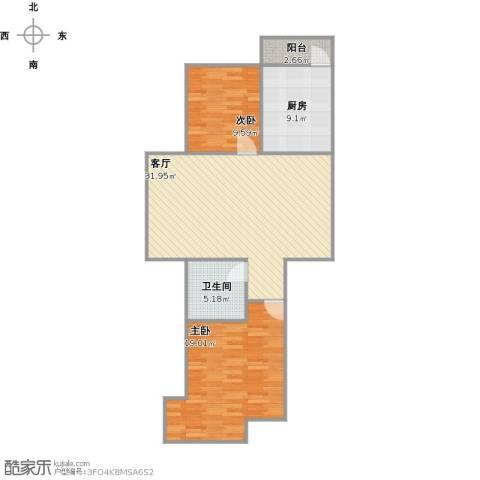 远大中央公园2室1厅1卫1厨104.00㎡户型图