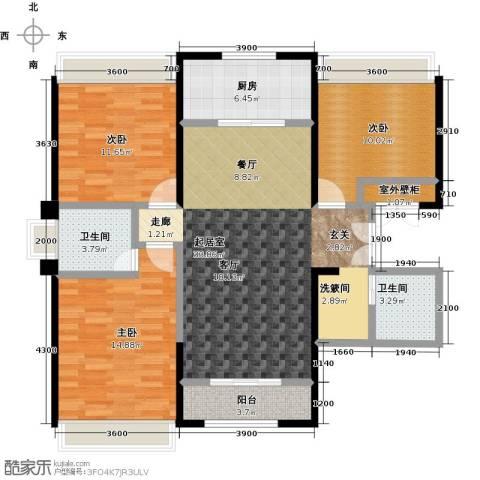 盛达国际新城3室0厅2卫1厨126.00㎡户型图