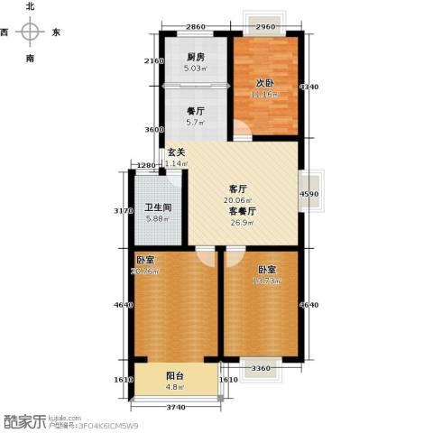 祥瑞家园1室1厅1卫1厨95.00㎡户型图