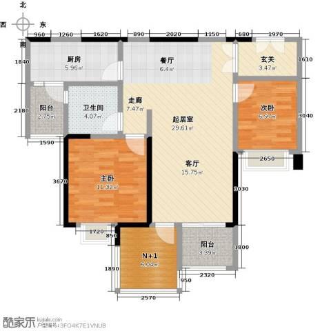 时代倾城2室0厅1卫1厨86.00㎡户型图