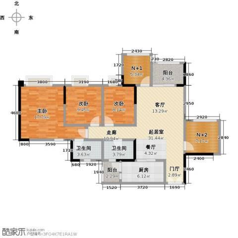 时代倾城3室0厅2卫1厨129.00㎡户型图