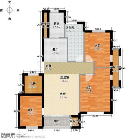 河海龙湾3室0厅1卫1厨105.00㎡户型图