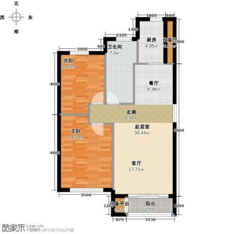 河海龙湾2室0厅1卫1厨92.00㎡户型图
