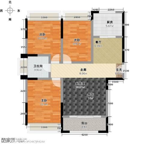 盛达国际新城3室0厅1卫1厨107.00㎡户型图
