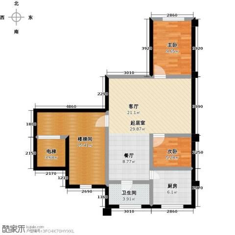 馨悦家园2室0厅1卫1厨107.00㎡户型图
