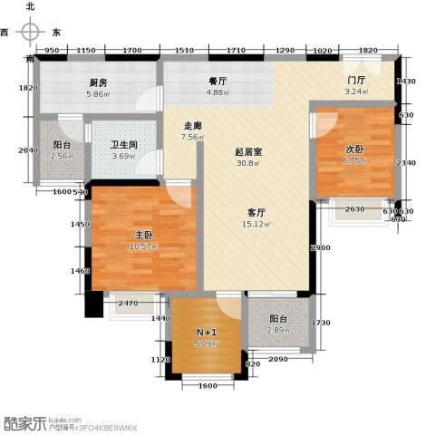 时代倾城2室0厅1卫1厨90.00㎡户型图