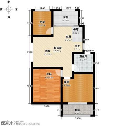 海泰绿洲3室0厅1卫1厨94.00㎡户型图