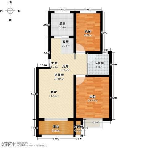 海泰绿洲2室0厅1卫1厨89.00㎡户型图