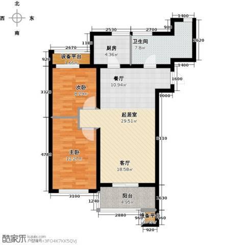 河海龙湾2室0厅1卫1厨87.00㎡户型图