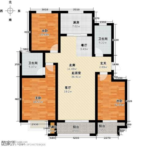 海泰绿洲3室0厅2卫1厨129.00㎡户型图
