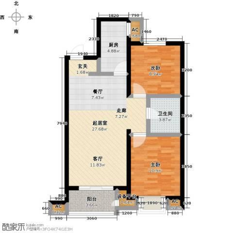 亚太世纪花园2室0厅1卫1厨73.04㎡户型图