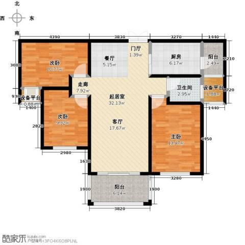 冠亚星城3室0厅1卫1厨98.00㎡户型图