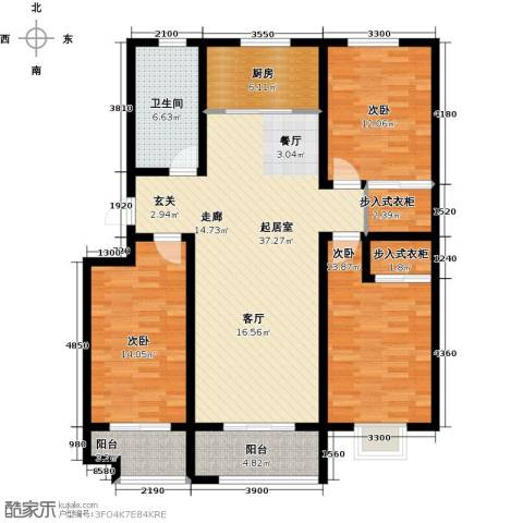 海泰绿洲3室0厅1卫1厨134.00㎡户型图
