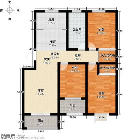 海泰绿洲3室0厅1卫1厨129.00㎡户型图