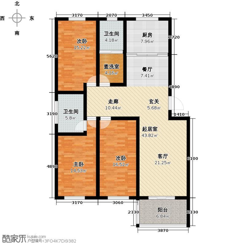 恒信首府136.00㎡C户型 三室两厅两卫户型3室2厅2卫