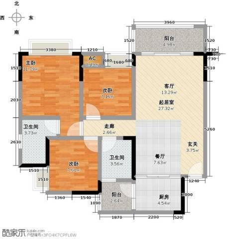 御品泰景3室0厅2卫1厨96.00㎡户型图