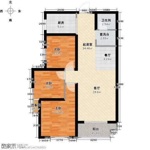 高新大都荟3室0厅1卫1厨109.00㎡户型图