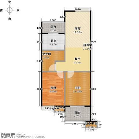 蔚海新天地2室0厅1卫1厨70.00㎡户型图