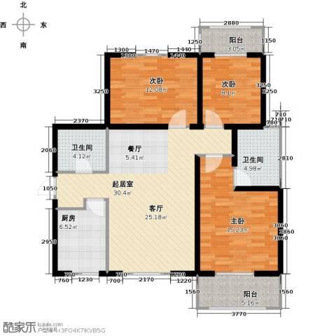 高新大都荟3室0厅2卫1厨122.00㎡户型图