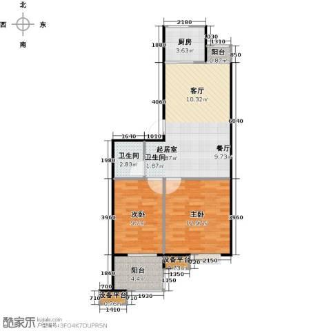 蔚海新天地2室0厅1卫1厨67.00㎡户型图