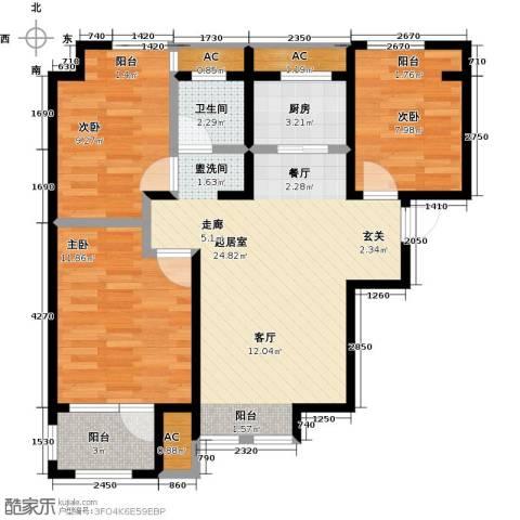 荣盛楠湖郦舍3室0厅1卫1厨89.00㎡户型图