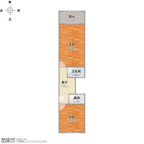 华建一街坊2室1厅1卫1厨65.00㎡户型图