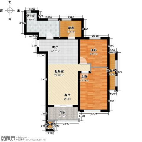河海龙湾2室0厅1卫1厨90.00㎡户型图