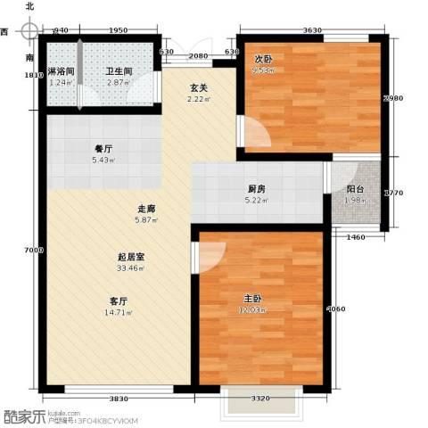 联邦・御景江山2室0厅1卫0厨87.00㎡户型图