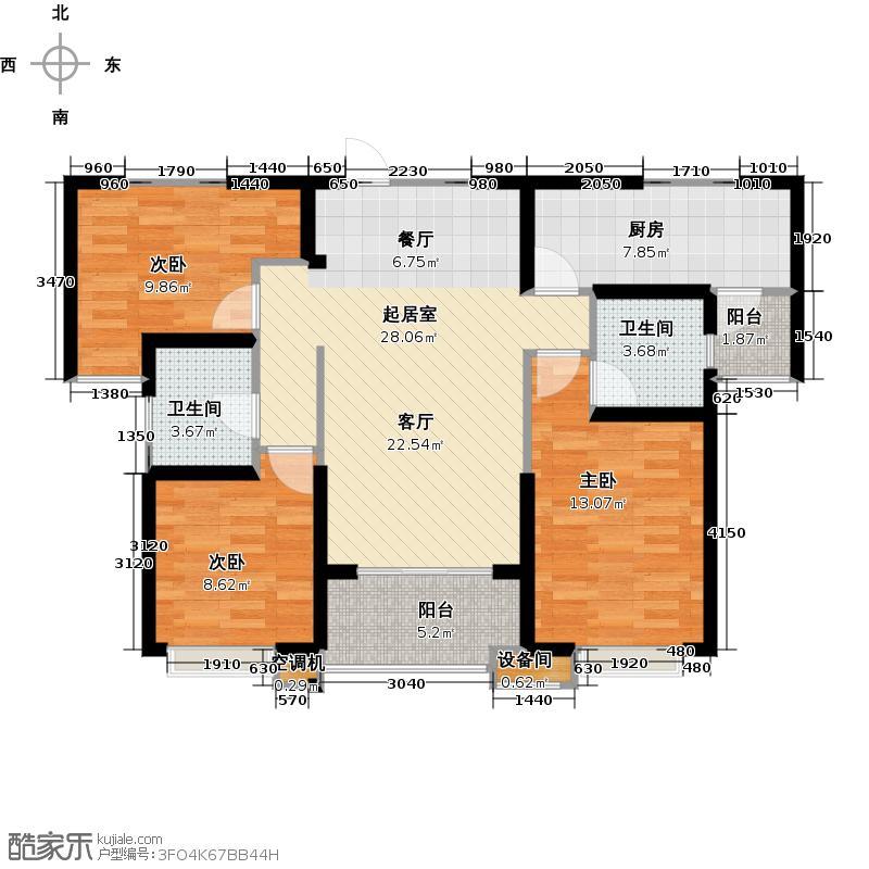 海伦国际E2户型114㎡三室两厅两卫户型