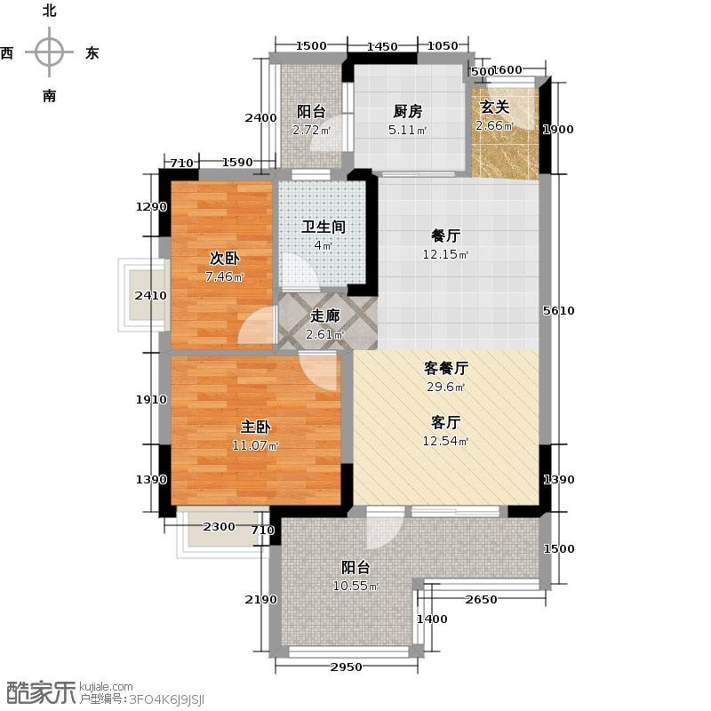 青柠时代85.00㎡1幢03单位、2幢04单位 二房二厅一卫户型2室2厅1卫