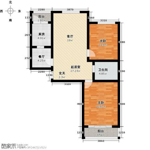 彩虹湾2室1厅1卫1厨109.00㎡户型图