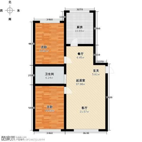 彩虹湾2室0厅1卫1厨120.00㎡户型图