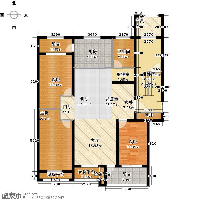 圣基金碧广场133.50㎡三室两厅一卫户型3室2厅1卫