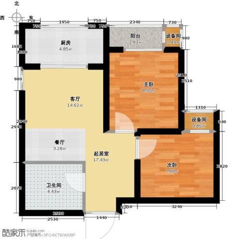 高新大都荟2室0厅1卫1厨61.00㎡户型图