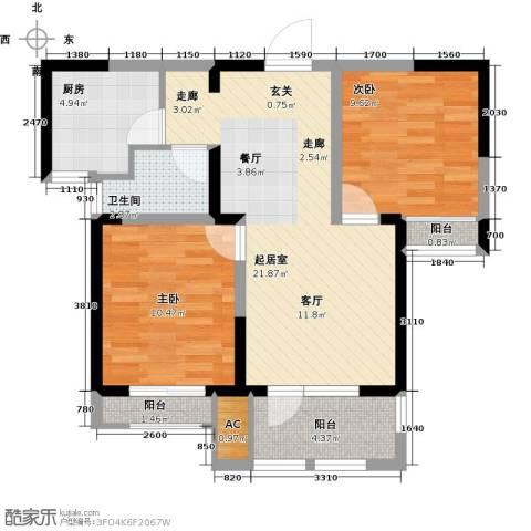 荣盛楠湖郦舍2室0厅1卫1厨79.00㎡户型图