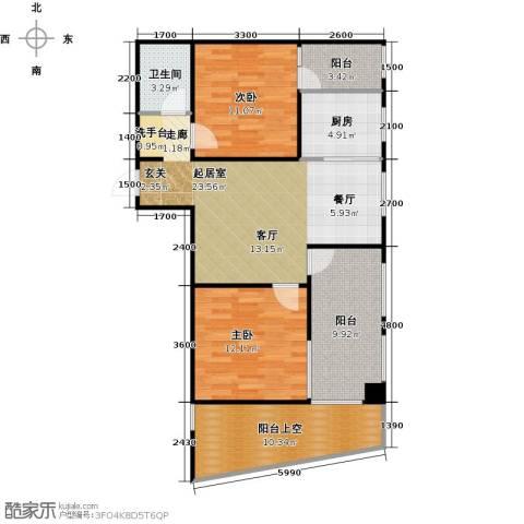 嘉来涪滨印象2室0厅1卫1厨88.00㎡户型图